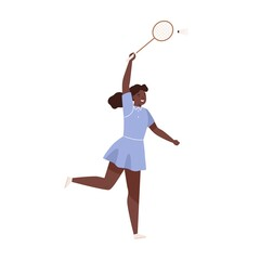 Dark skin female badminton player jumping hitting shuttlecock vector flat illustration. Sportswoman with racket demonstrate smash at training isolated on white. Woman enjoying physical activity
