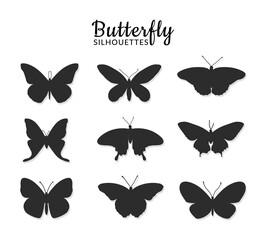 Butterflies silhouettes on white background