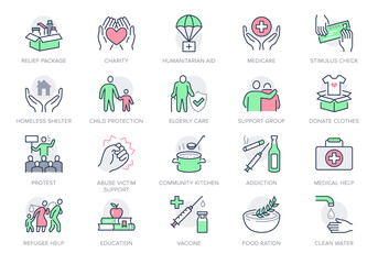 Charity, social worker line icons. Vector illustration included icon as donate food, humanitarian aid, pantry, homeless shelter outline pictogram for volunteer. Green, red color, Editable Stroke
