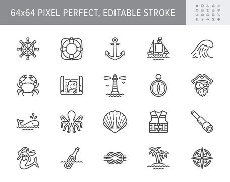 Marine line icons. Vector illustration included icon as anchor, sea wave, message in a bottle, rope, sailor, lighthouse, wheel, pirate outline pictogram of ocean. 64x64 Pixel Perfect Editable Stroke