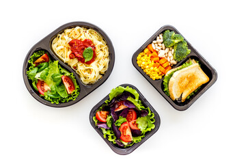 Restaurant food delivery, lunch boxes for daily nutrition, top view