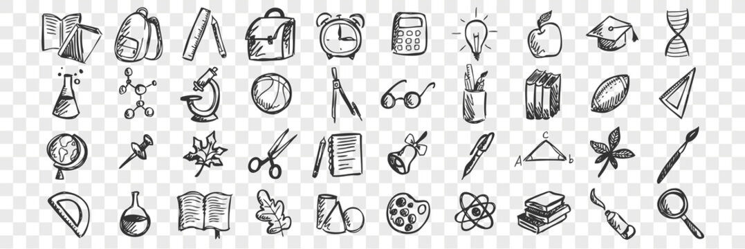 School doodle set. Collection of hand drawn sketches patterns templates of classroom equipment books blackboards desks on transparent background. Back to college unversity and education illustration.