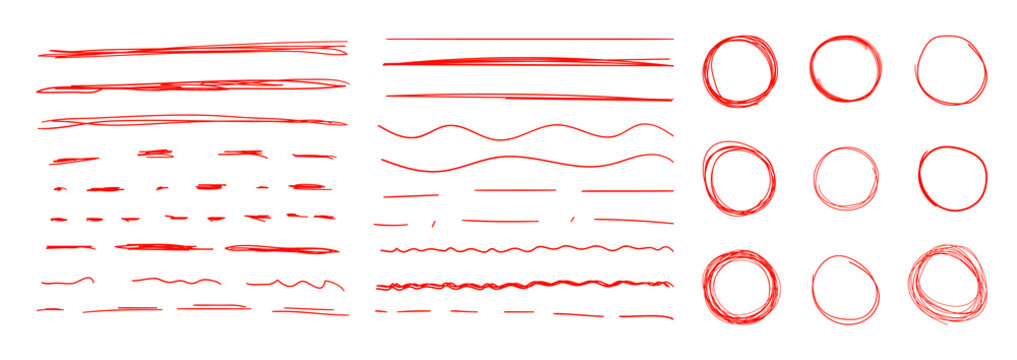 Vector Set of Red Colorful Underline Strokes and Circles, Hand Drawn Design Elements, Correction Marks, Drawings Collection.