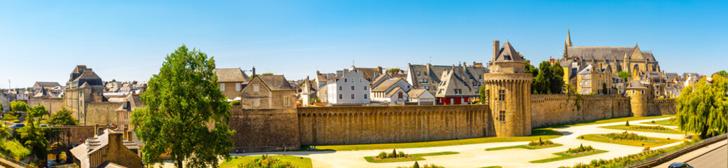 Walls of the ancient town and building in Vannes. Brittany. Northern France.