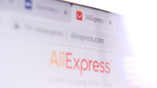 Aliexpress.com in browser and logo on the computer screen. Editorial shot