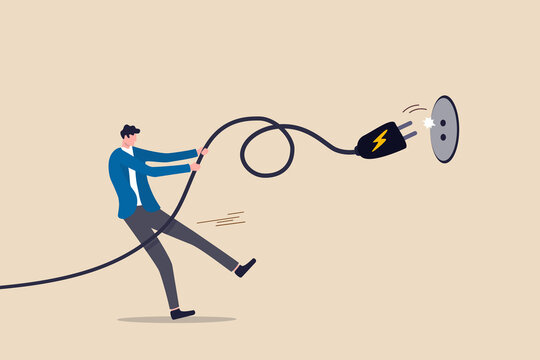 Electricity saving, ecology awareness or reduce electric cost and expense concept, man pulling electric cord to unplug to save money or for ecology power.