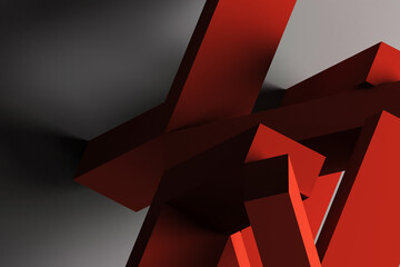 Abstract red chaotic geometric still life installation 3d