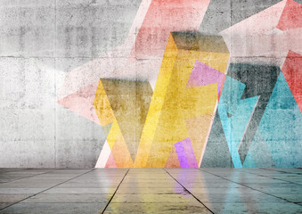 Empty room with colorful geometric graffiti, 3d