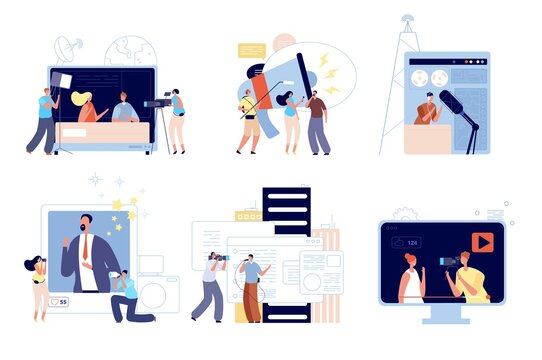 News media reporters. People communications, web blog update or creative mobile interview. Digital radio, tv journalist vector illustration. Broadcasting press, reporter and journalism