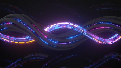 Glowing neon swirl 3D render illustration