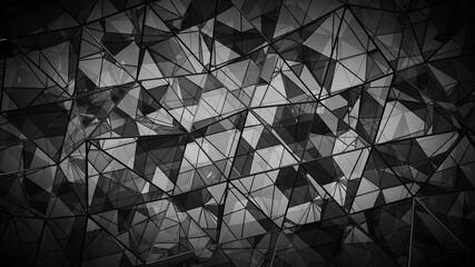 Futuristic polygonal black glass shape 3D rendering illustration