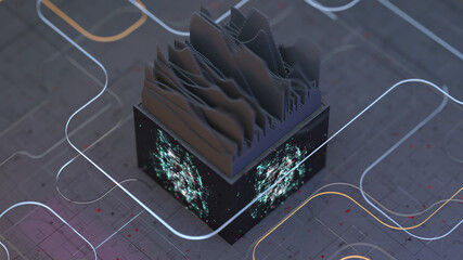 Visualization of audio wave 3D render