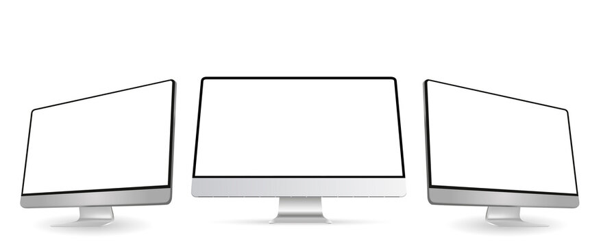 Computer monitor screen mockup with perspective view to showcase website design project in modern style. Three panels of Computer Monitors Mockup with white blank screen. Vector illustration