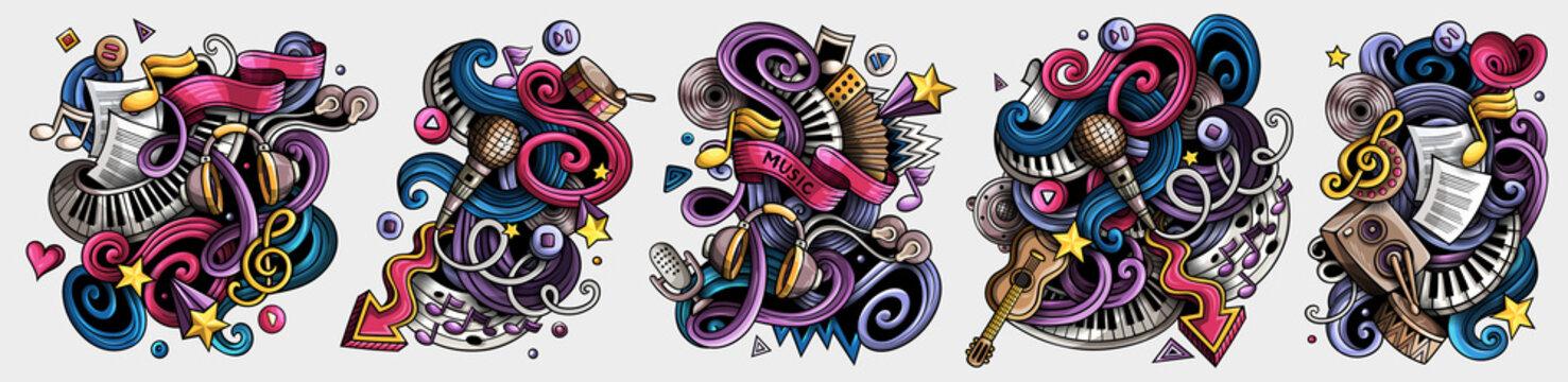 Music cartoon vector doodle designs set