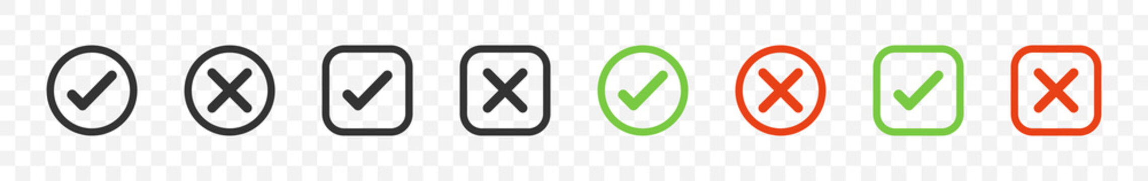 Check mark with cross mark. Vector icons in square and circle. Yes or No symbols. Check mark and cross icons. Vector illustration