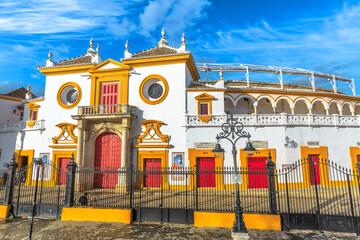 Seville, Andalusia, Spain - April 19, 2016: Arena in Square of Bulls of Royal Maestranza of Cavalry or Plaza de Toros de la Real Maestranza de Caballeria, one of most well-known arenas in the world.