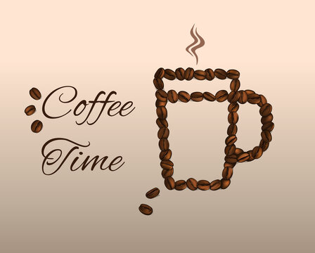 Coffee Time. Cup of coffee made from beans. Vector Illustration