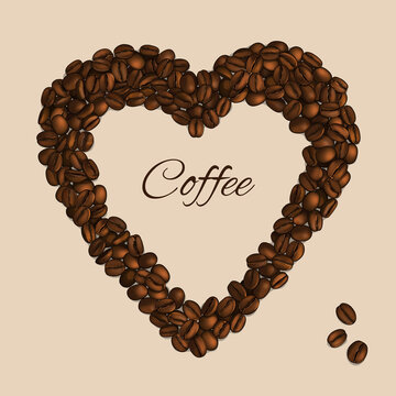 Heart made from coffee beans. Vector Illustration