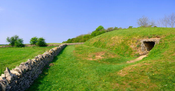 Belas Knap is a neolithic, chambered long barrow situated on Cleeve Hill, near Cheltenham and Winchcombe, in Gloucestershire, England.