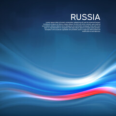 Russia abstract flag background. Blurred pattern of lines of light colors the Russian flag in the blue sky, business booklet. State banner, russian poster, patriotic cover, flyer. Vector design