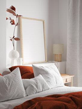 Mockup frame close up in bedroom interior background, 3d render