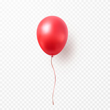Balloon isolated on transparent background. Vector realistic red festive 3d helium ballon template for anniversary, birthday party design