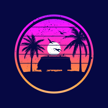 Landscape skyline with Van, sun and palm trees. Retrowave, 80's vector graphic for apparel
