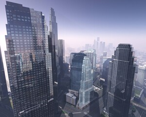 Wall Mural - Modern city with skyscrapers aerial view, 3D rendering