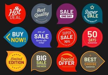 Obraz Sale quality badges. Quality stamp sticker, badge premium, product emblem price illustration, discount and guaranteed - fototapety do salonu