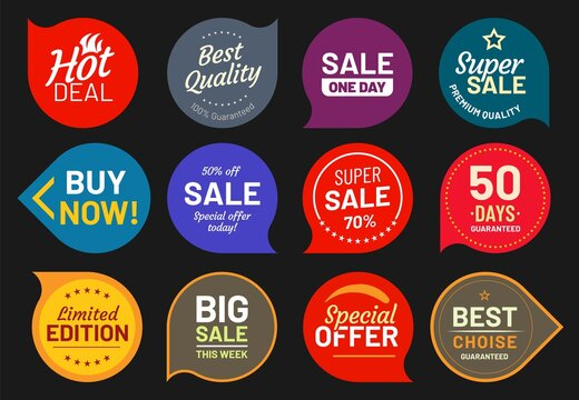 Sale quality badges. Quality stamp sticker, badge premium, product emblem price illustration, discount and guaranteed
