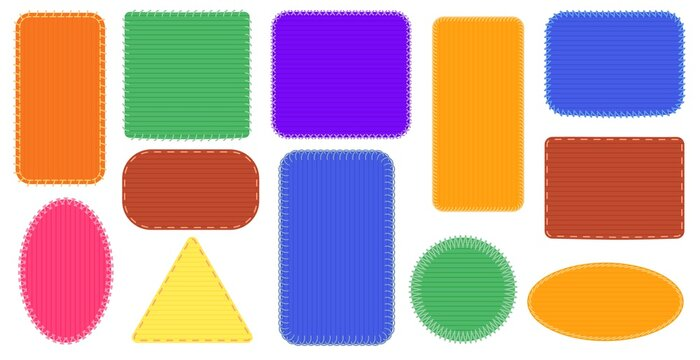 Fabric patches frames. Triangle and rectangle seam, oval colored badge, canvas stitch frame illustration