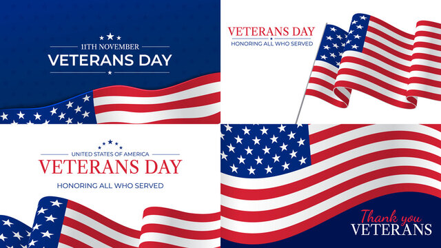 Veterans day. Happy veterans day celebration november 11 honoring heroes who served. Usa flag and lettering patriotic holiday vector posters. Usa veteran day, respect and pride illustration