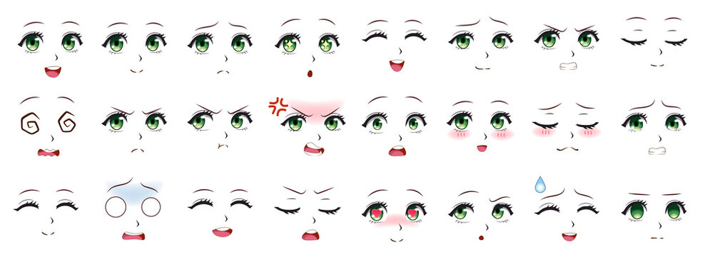 Manga expression. Anime girl facial expressions. Eyes, mouth and nose, eyebrows in japanese style. Manga woman emotions cartoon vector set. Illustration character manga facial girl, cute expression