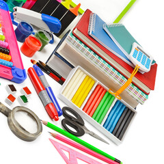 school supplies isolated on a white background.