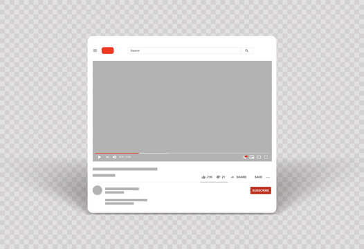 Youtube web video player layout mockup and Template video frame Mobile