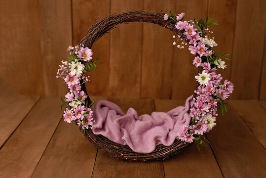 Newborn Digital Background Spring rose Basket Prop for Newborn.