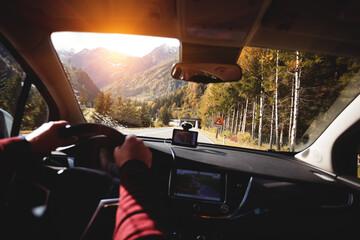roadtrip  man hands on the wheel