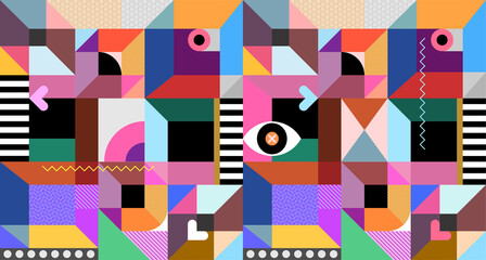 Abstract design with many different colorful geometric shapes. Vector abstract background.