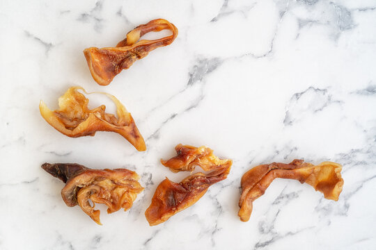 Pig's ear pieces, treats for dogs.