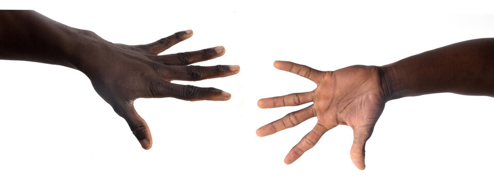 palm and back of the hand of a african man on white background
