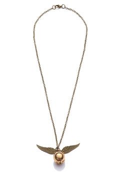 Subject shot of bronze necklace with pendant made as Golden Snitch with bronze wings. Symbolic necklace with lobster clasp is isolated on the white background.