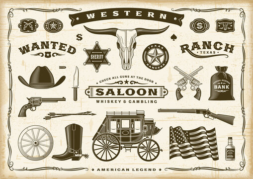 Vintage Old Western Set. Editable EPS10 vector illustration in retro woodcut style with transparency.