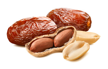 Peanuts and dates isolated on white background.