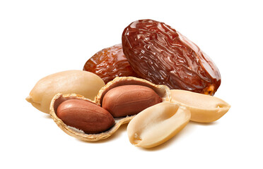 Peanuts or groundnuts and dates isolated on white background