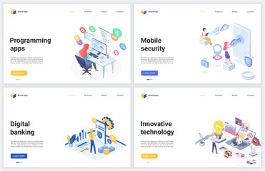Isometric innovative banking app digital technology vector illustrations. Cartoon 3d mobile webpage design banner set for security finance service, innovations in coding, programming bank application