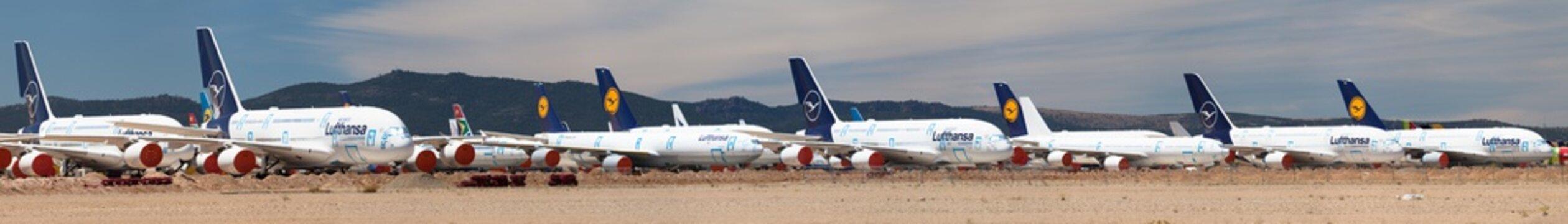 Several Lufthansa Airbus A380 Stored at Teruel