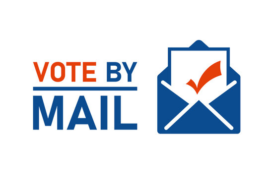Vote by mail sign. Clipart image.