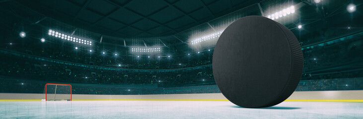 Sport indoor ice hockey arena with black puck on the ice rink as widescreen background. Digital 3D illustration of sport building interior.