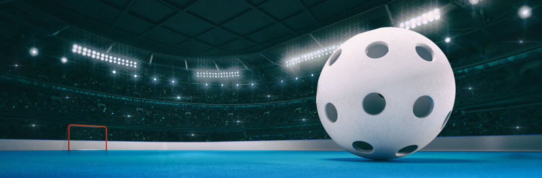Sport indoor arena with white floorball ball on the blue floor as widescreen background. Digital 3D illustration of sport building interior.