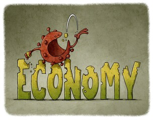 illustration of coronavirus character is sitting on top of the word economy while eating it. economy and covid19 concept